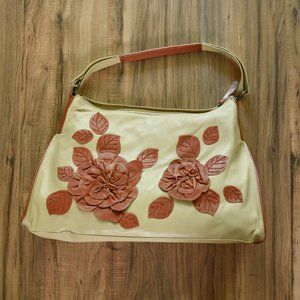 Bloomingdale's Beige Leather Shoulder Bag